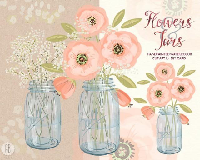 Watercolor Mason Jar Baby Breath, Cream Pink Flowers, Hand