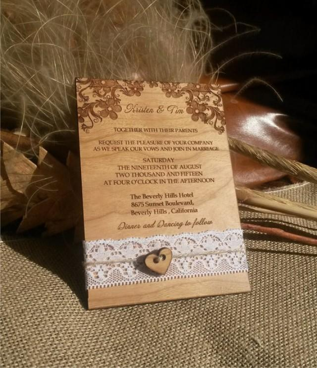 Engraved Personalized Wood Wedding Invitations / Laser Cut