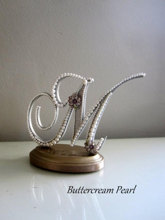 custom wedding cake topper monogram letter m vintage white pearl gray lavender for rustic. Black Bedroom Furniture Sets. Home Design Ideas
