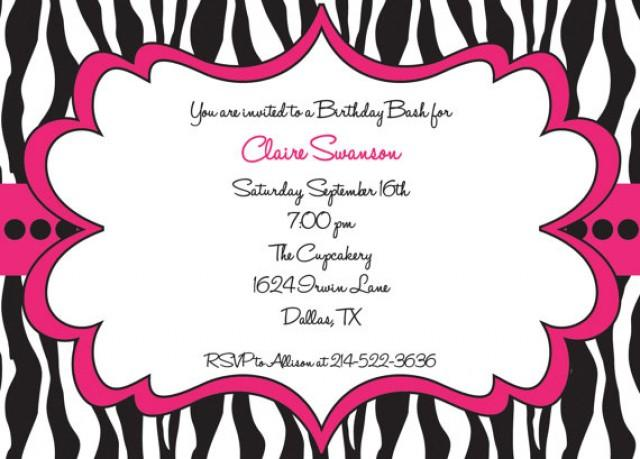 Hot pink and black zebra print girls birthday party for Leopard print invitations templates