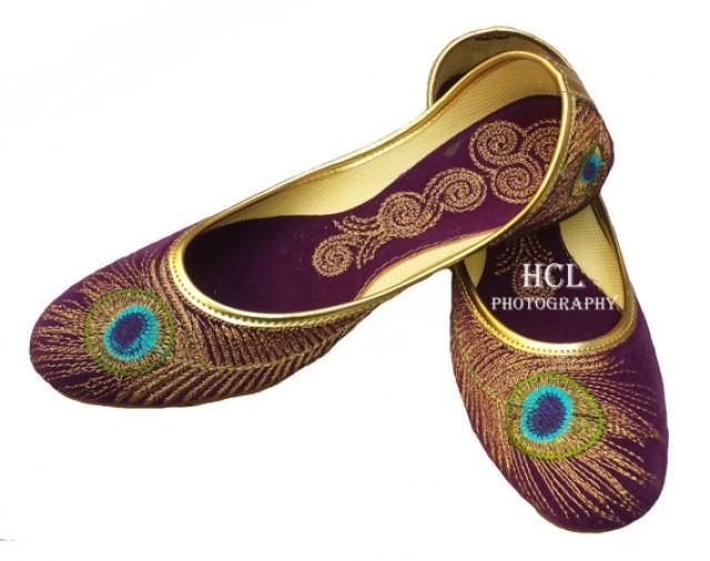 Handmade Purple Velvet Mojari Beautiful Peacock Embroidery