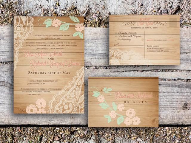 wedding photo - Romantic wedding invitation - Wood rustic wedding set