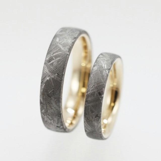Meteorite Wedding Band Set Gold Band With Gibeon Meteorite Inlay Meteor Jewelry 2287087