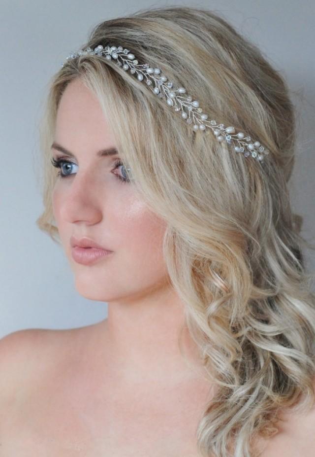 Freshwater Pearl Wedding Hair Accessories Bridal Headband Pearl Crystal Bridal Wreath ...