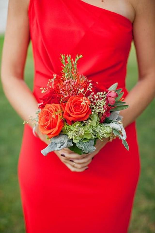 Fall Wedding Bouquets Bridesmaids : Red wedding bridesmaids dress and fall bouquet