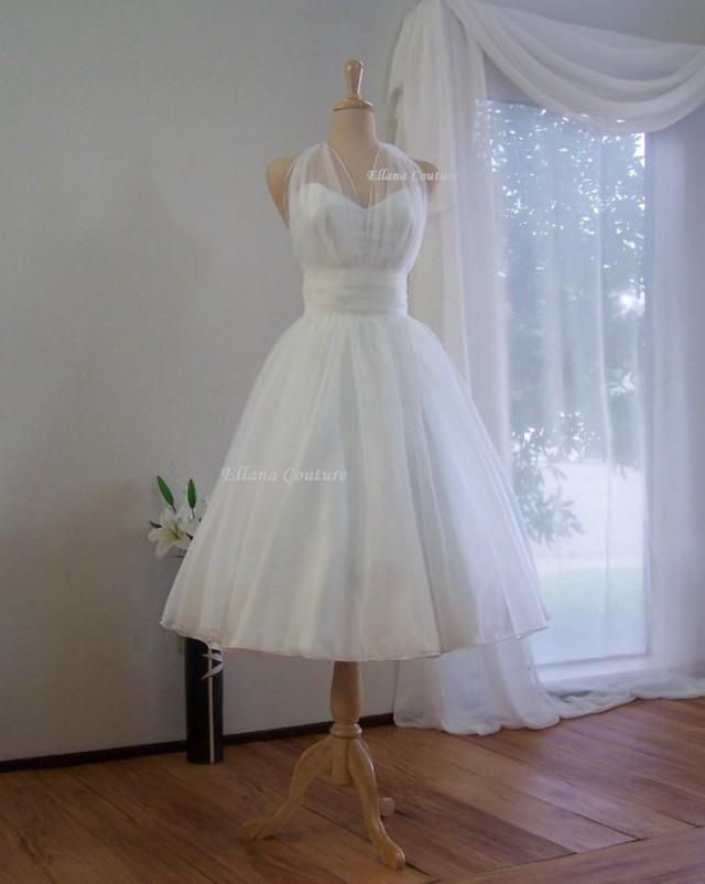 Marilyn retro inspired tea length wedding dress vintage for Retro tea length wedding dress