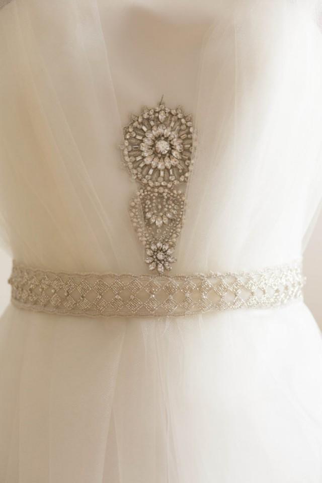 Vintage inspired bridal belt wedding dress applique for Vintage wedding dress belts