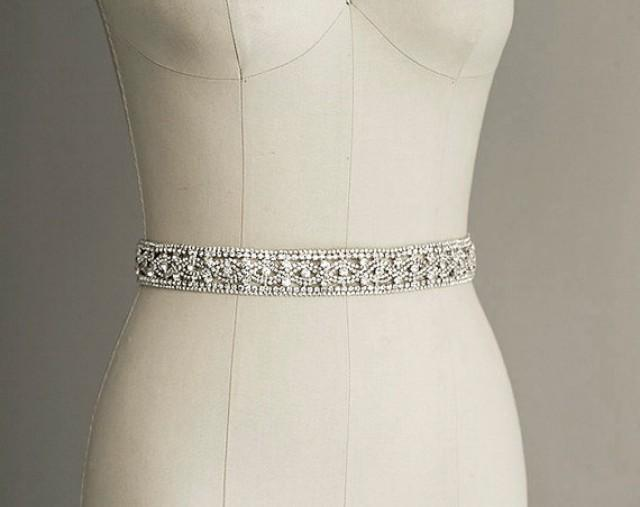 Priscilla crystal sash belt bridal gown belt long for Rhinestone sashes for wedding dresses