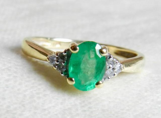 Emerald Engagement Ring 1 Carat Emerald Ring With Genuine Diamond Accents 14K