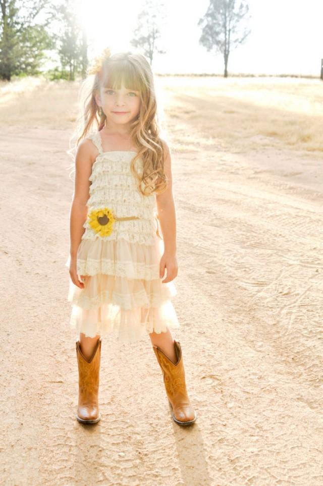 Sunflower flower girl dress sunflower wedding sunflower for Country girl wedding dress