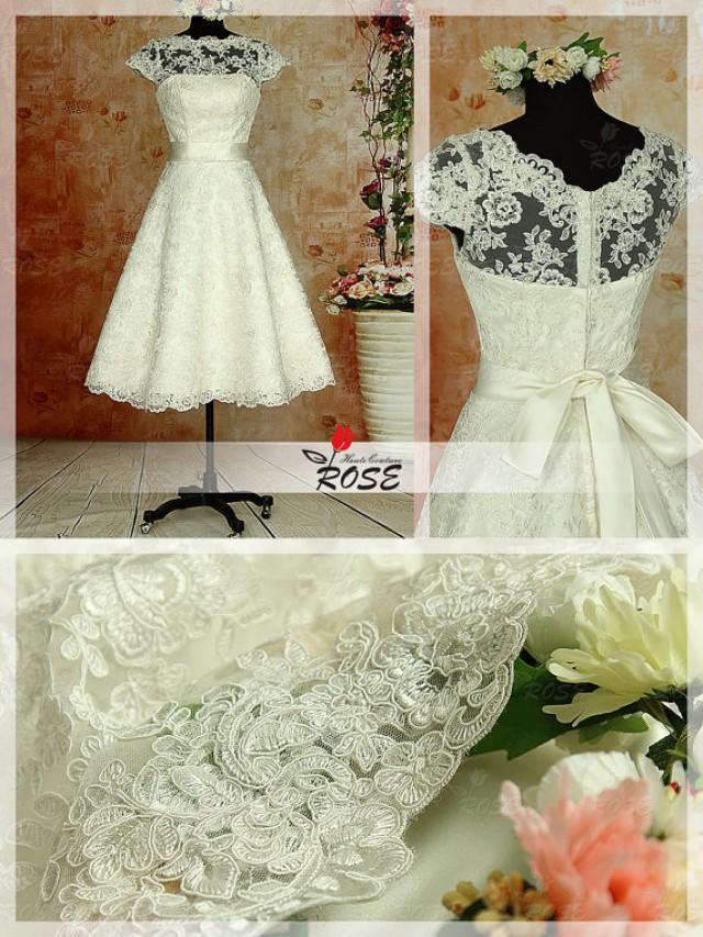Knee tea length vintage lace wedding dresses satin belt for Vintage t length wedding dresses