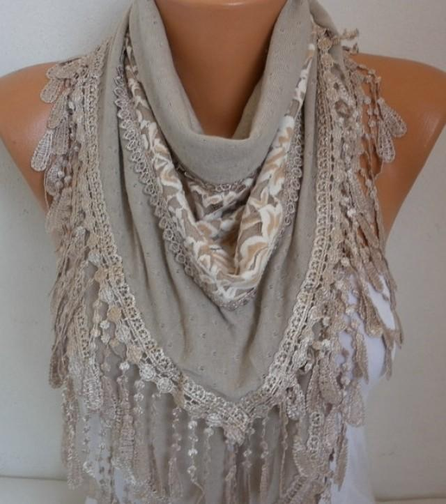 Beige Knitted Scarf Shawl Cowl Lace Oversized Bridesmaid Bridal Accessories G...