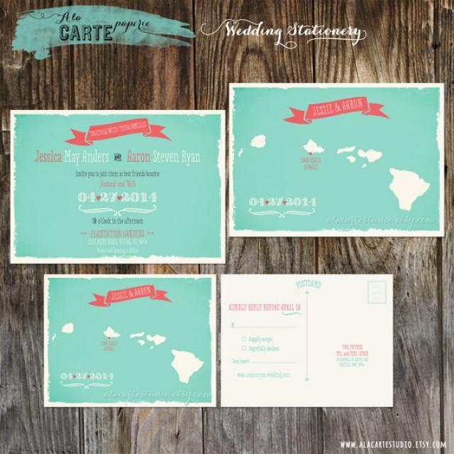 hawaii islands wedding invitation and rsvp card map With hawaii map wedding invitations
