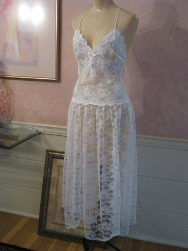 ebbc8dbd9 Vintage sexy white lace nightgown