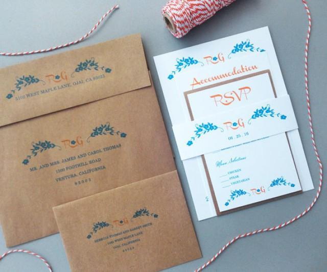 Orange And Turquoise With KRAFT Envelopes Rustic Wedding