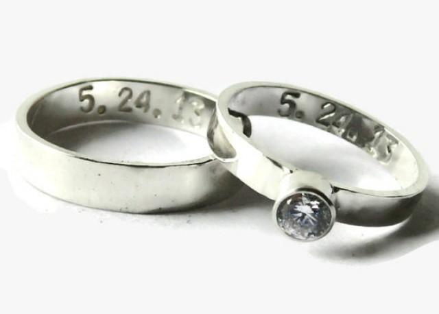 His And Her Wedding Band Set Personalized Sterling Silver Ring Promise Ring A