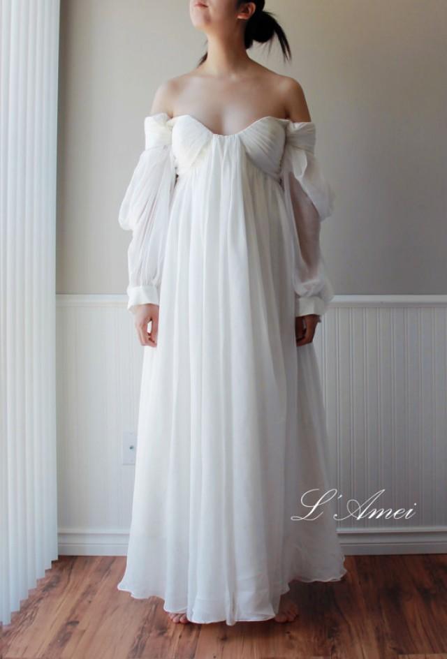Custom made ancient greece wedding dress made of silk for Silk chiffon wedding dress