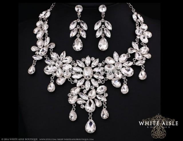 Crystal Necklace Bridal Statement Necklace Earring Set