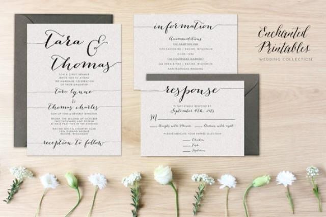 Printable Wedding Invitation Sets: DIY Printable Wedding Invitation Set, Wedding Invitation