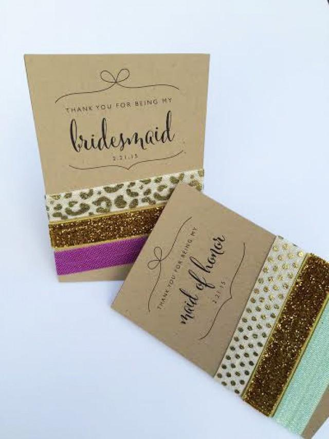 Thank You Gifts Wedding Party : Thank You Bridesmaid // Bridesmaid Gifts / Hair Ties For Bridal Party ...