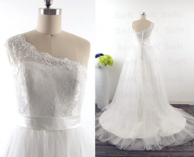 Romantic bridal gown one shoulder lace wedding gown for Lace one shoulder wedding dress