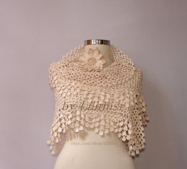 Crochet Lace Wedding Shawl Pattern : Ivory Bridal Shawl Shrug Bolero Crochet Shawl Wedding Lace ...
