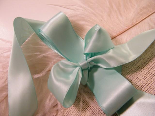 Mint green satin ribbon 1 12quot headband bow supplies diy wedding gift wrap favor box ribbon craft sewing diy wedding bouquet 5 yards
