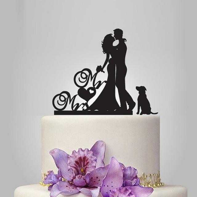 Mr And Mrs Wedding Cake Topper Silhouette Your Dog Wedding Cake Topper Bride And Groom