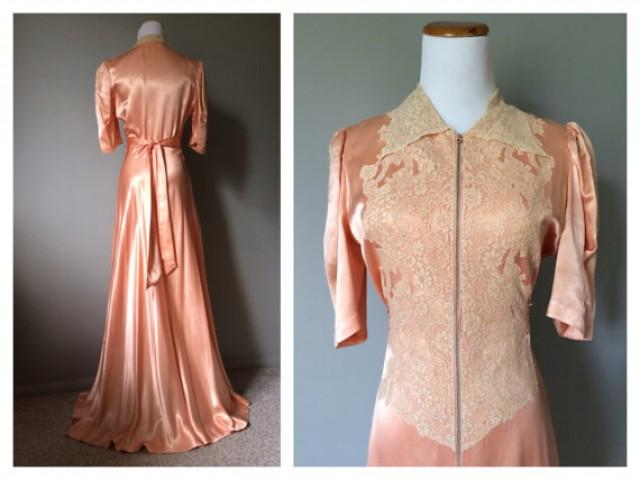 3abba5bc3 Vintage 1930s 1940s Antique Lace and Satin Dress Gown Peach Bridal Wedding  Night Gown Sexy Lingerie Long Maxi Dressing Size Small Medium