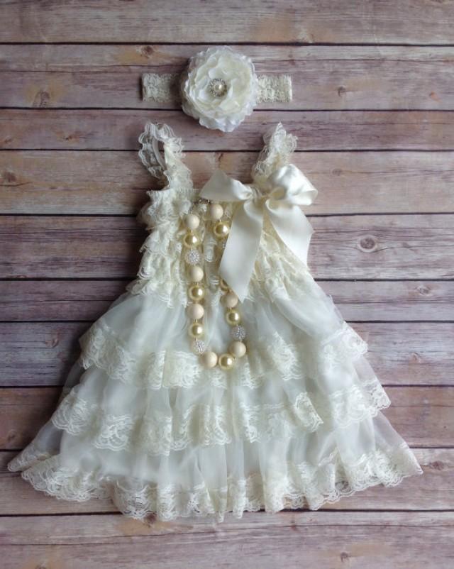 Cream Ivory Lace Toddler Baby Dress- Flower Girl Dress- Vintage ...
