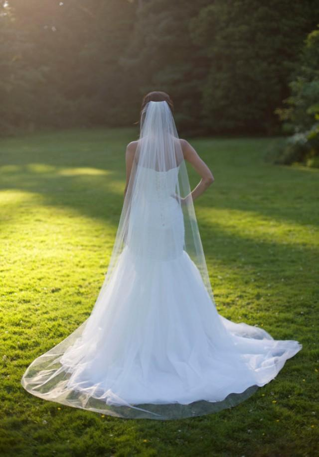 Chapel veil cathedral veil raw edge handcut edge plain for Long veil wedding dresses