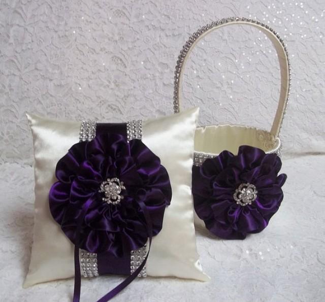 Deep Plum Purple Flower Girl Basket And Ring Bearer Pillow