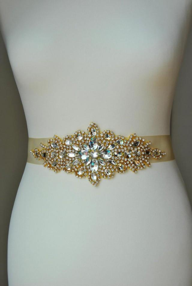 Luxury gold crystal bridal sash wedding dress sash belt for Wedding dress belt sash