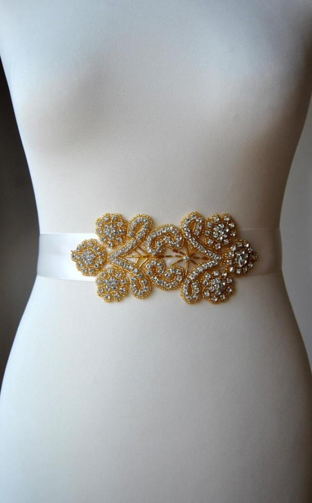 Gold bridal sash wedding dress sash belt rhinestone sash for Wedding dress sash with rhinestones