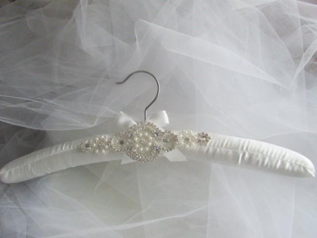 Padded wedding dress hanger white or ivory rhinestone for Wedding dress hanger amazon
