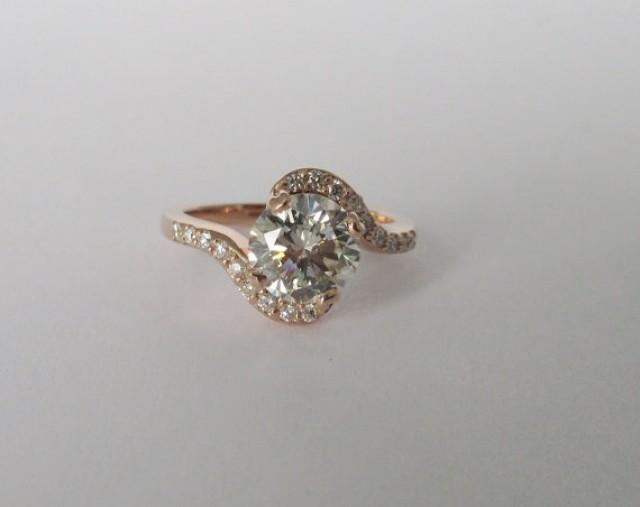 Vintage Inspired Engagement Ring 14kt Rose Gold With Diamonds Wedd