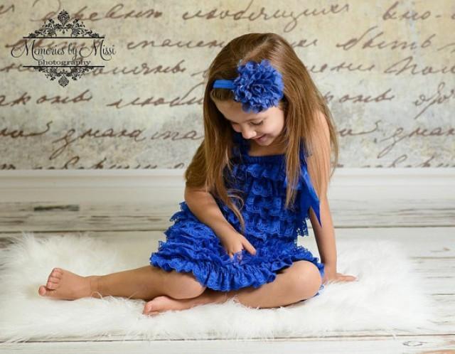 wedding photo - Flower girl dress, Royal Blue Petti Lace Dress, toddler, baby dress, girls dress, Birthday dress, wedding flower girls, 4th of July, ruffle