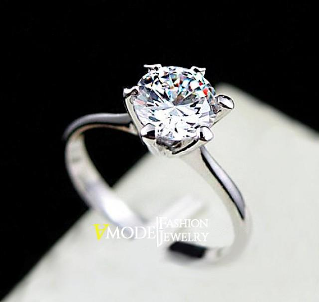 Solitaire Ring 1 Carat Round Cut Cubic Zirconia 6 Prong Simulated Single Diam