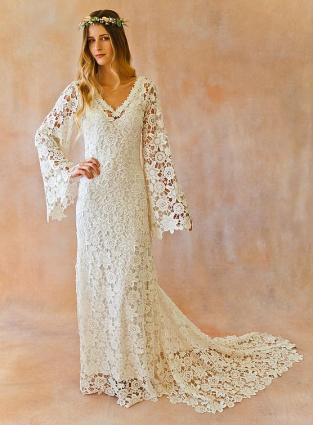 Boho wedding dress bell sleeve simple crochet lace Hippie vintage wedding dresses