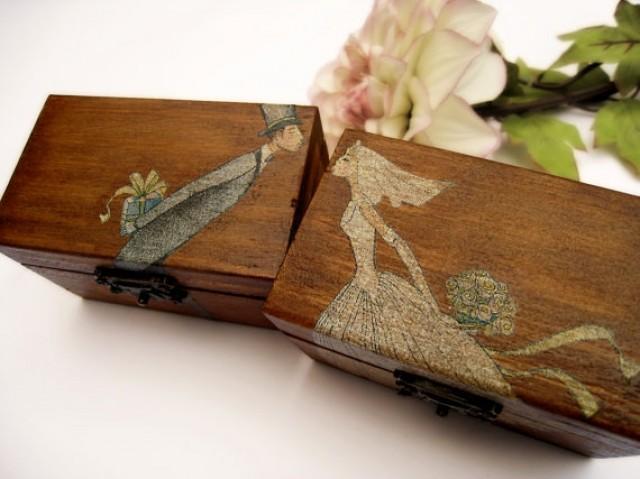 Personalized Rustic Ring Bearer Box Rustic Wedding Vintage Wooden Box Gift Box Wedding Decor