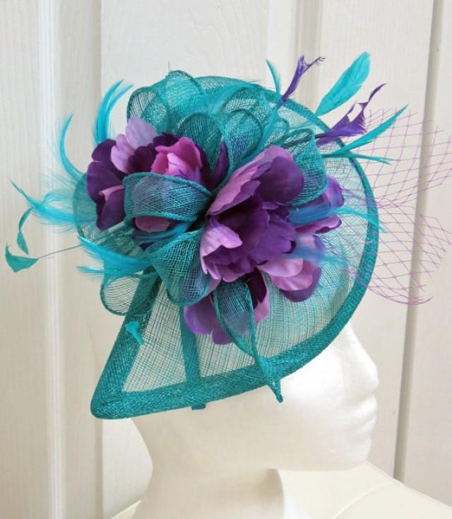 NEW! Teal Fascinator - Turquoise Fascinator Wedding Hat Lavender ...
