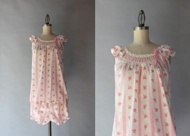 c348d8f210 Vintage Pajamas   1960s Flowers and Lace Pajama Set   60s Pink Cotton Lingerie  Set