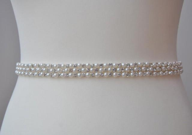 Stunning Pearls Crystal Bridal Sash Wedding Dress Sash