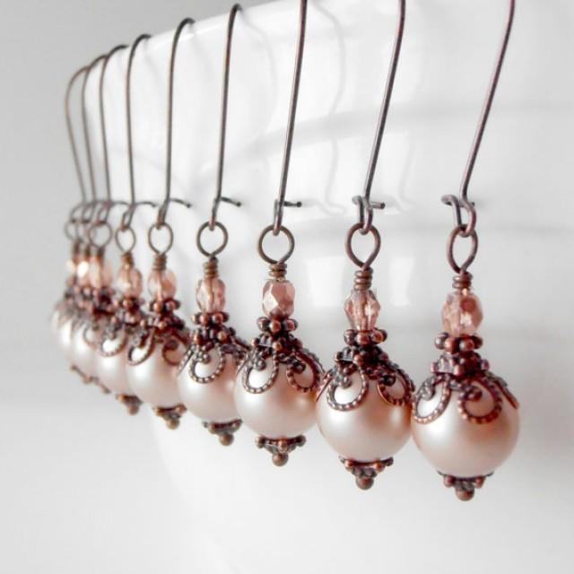 Bridesmaid jewelry rustic blush pink pearl earrings for Pink wedding jewelry sets