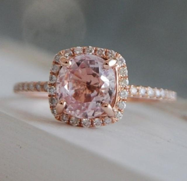 On Hold -1.8ct Square Cushion Peach Champagne Sapphire 14k Rose Gold Diamond  Engagement Ring #2293555 - Weddbook
