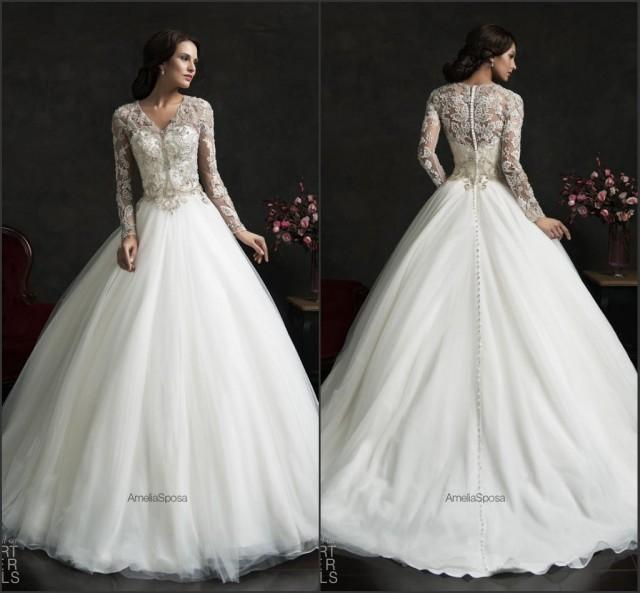 Vintage winter fall 2015 wedding dresses with long sleeve for Long sleeve sheer wedding dresses