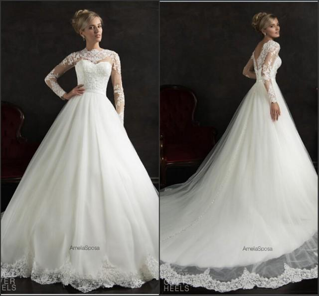 Long Sleeve Amelia Sposa White Wedding Dresses 2015