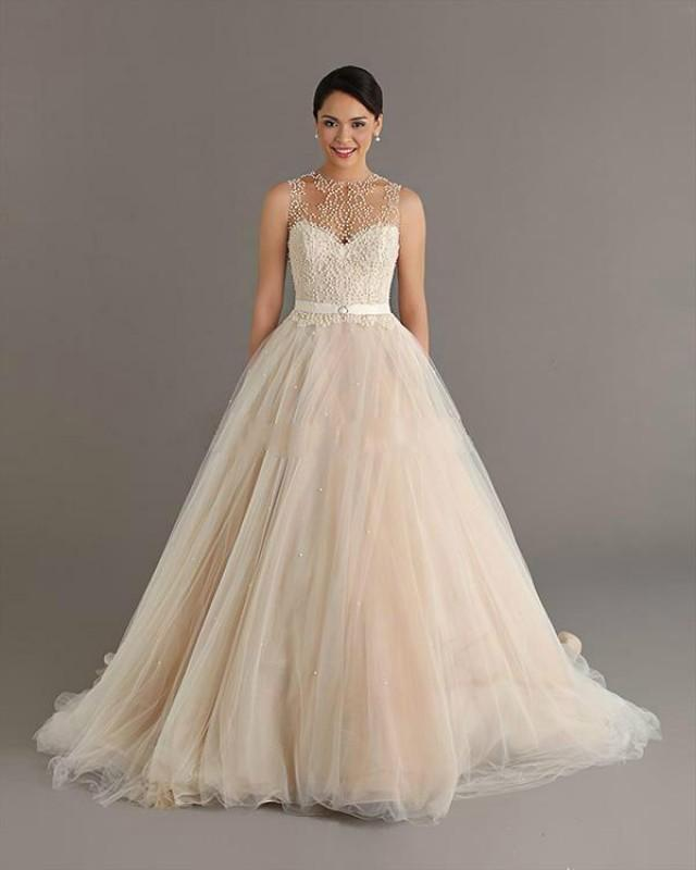 Wedding Gowns Prices In China : Crew neck sheer beads pearls empire ball gown