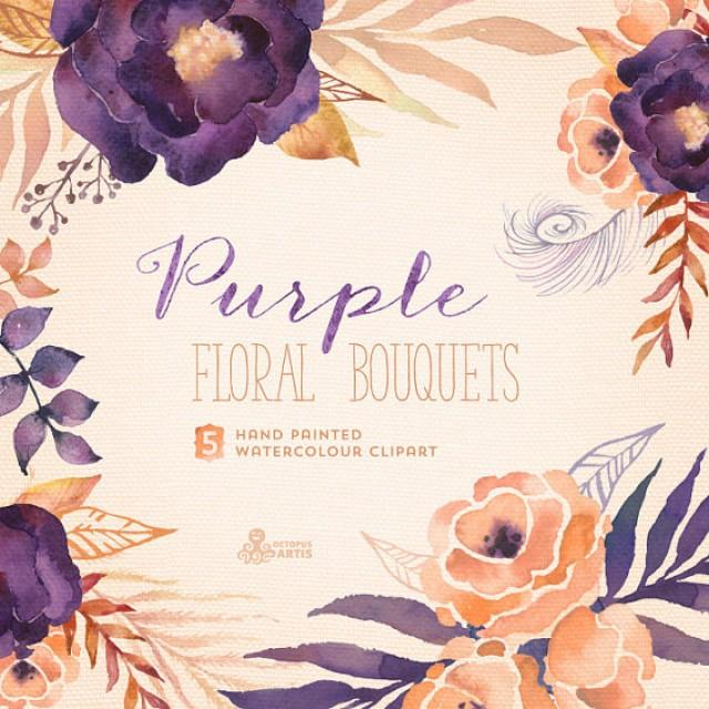 Purple Floral Bouquets Digital Clipart Pack Hand Painted Watercolour Flowers Wedding Diy Elements Invite Printable Blossom