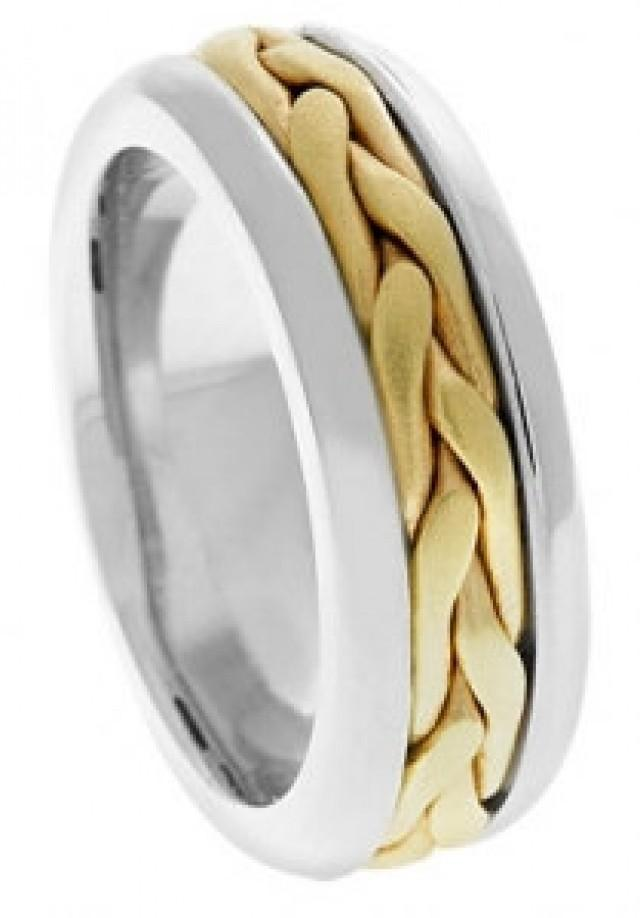 14k two tone band mens wedding band gold ring two tone